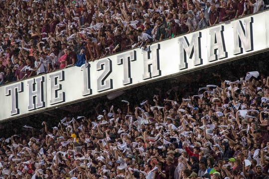 Texas A&M fans at Kyle Field in College Station, Texas.