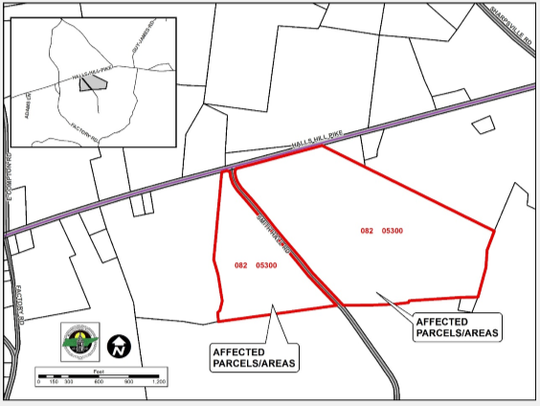 This map shows within red boundaries where a proposed 122 homes could be built on the south side of Halls Hill Pike on both sides of Smith Hill Road.