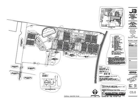 This Siegel Soccer Park master plan shows where 10 synthetic turf fields will be located, including one for indoor training on east side of the grass field with 1,000-plus bleacher seating for tournament championships.