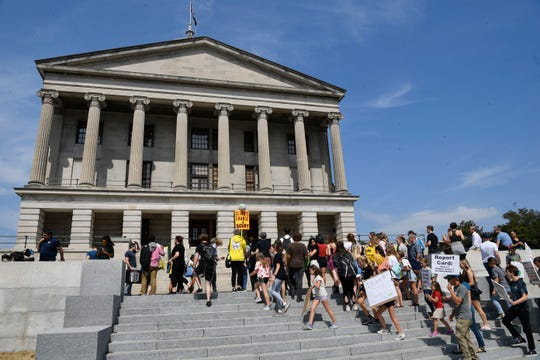 Students in Nashville participate in the Global Climate Strike at the Tennessee state Capitol on Friday, Sept. 20, 2019.