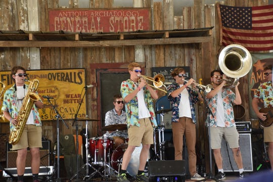Franklin High School Octobooth jams during Pilgrimage Community Day on the Americana Music Triangle stage.