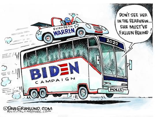 Warren catches Biden bus.