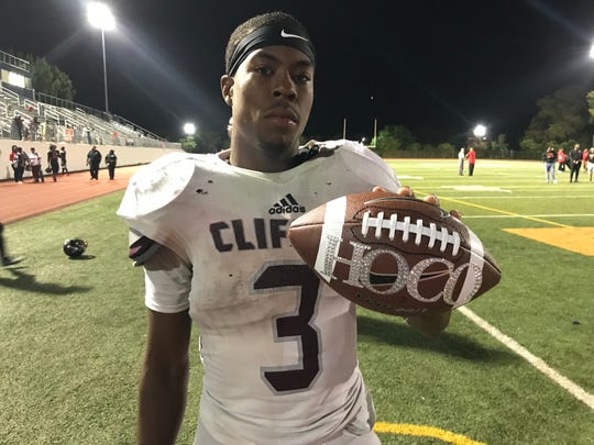 """Clifton senior Christian Boneparte ran for 151 yards and the game-winning touchdown against Kennedy. Afterward got a """"game ball"""" from a Mustang cheerleader asking him to the school's homecoming dance."""