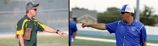 Mayfield's Michael Bradley, left, and Carlsbad's Gary Bradley, right, go over instructions with their respective teams during summer practices. Carlsbad travels to Las Cruces on Saturday for the annual Bradley Bowl.