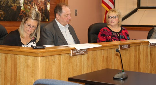 (From left)-Eddy County Chief Deputy Clerk Darlene Rosprim, Eddy County Manager Allen Davis and District 5 County Commissioner Susan Crockett during a Sept. 17 meeting in Carlsbad.