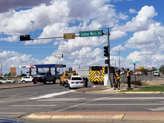 A vehicle crash at the intersection of Indian Wells Road and North White Sands Boulevard temporarily redirected traffic Friday afternoon.