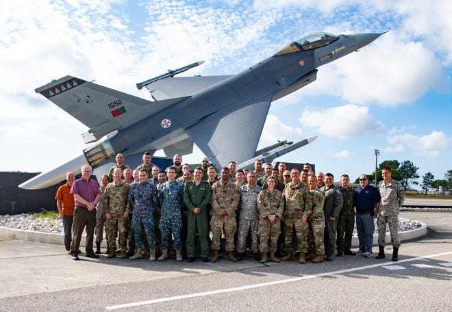 Air Force participants from eight nations, including the U.S., pose for a photo at the European Partnership Flight at Monte Real Air Base, Portugal, Sept. 9, 2019. The European Partnership Flight serves as an opportunity for the U.S. and partner nations to share best practices, strengthen relationships, and build trust.