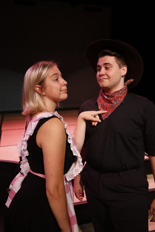 "Natalie Szczerba and Nick Drivas are featured in a scene from ""The Musical of Musicals (The Musical!"") opening this week at the Farmington Civic Center."