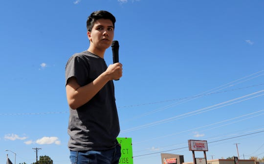 Andy Morales, 16, gives a speech, Friday, Sept. 20, 2019, during the Global Climate Strike at Gateway Park in Farmington.