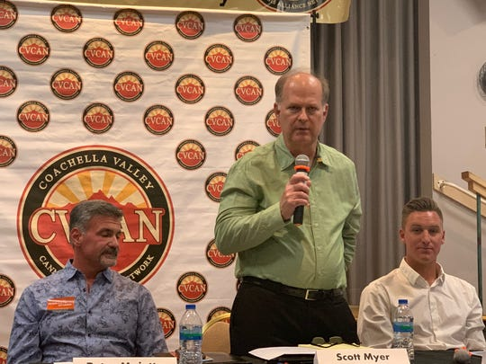 District 1 candidate Scott Myer speaks at a cannabis forum at the Mizell Senior Center on September 19, 2019 in Palm Springs, Calif.