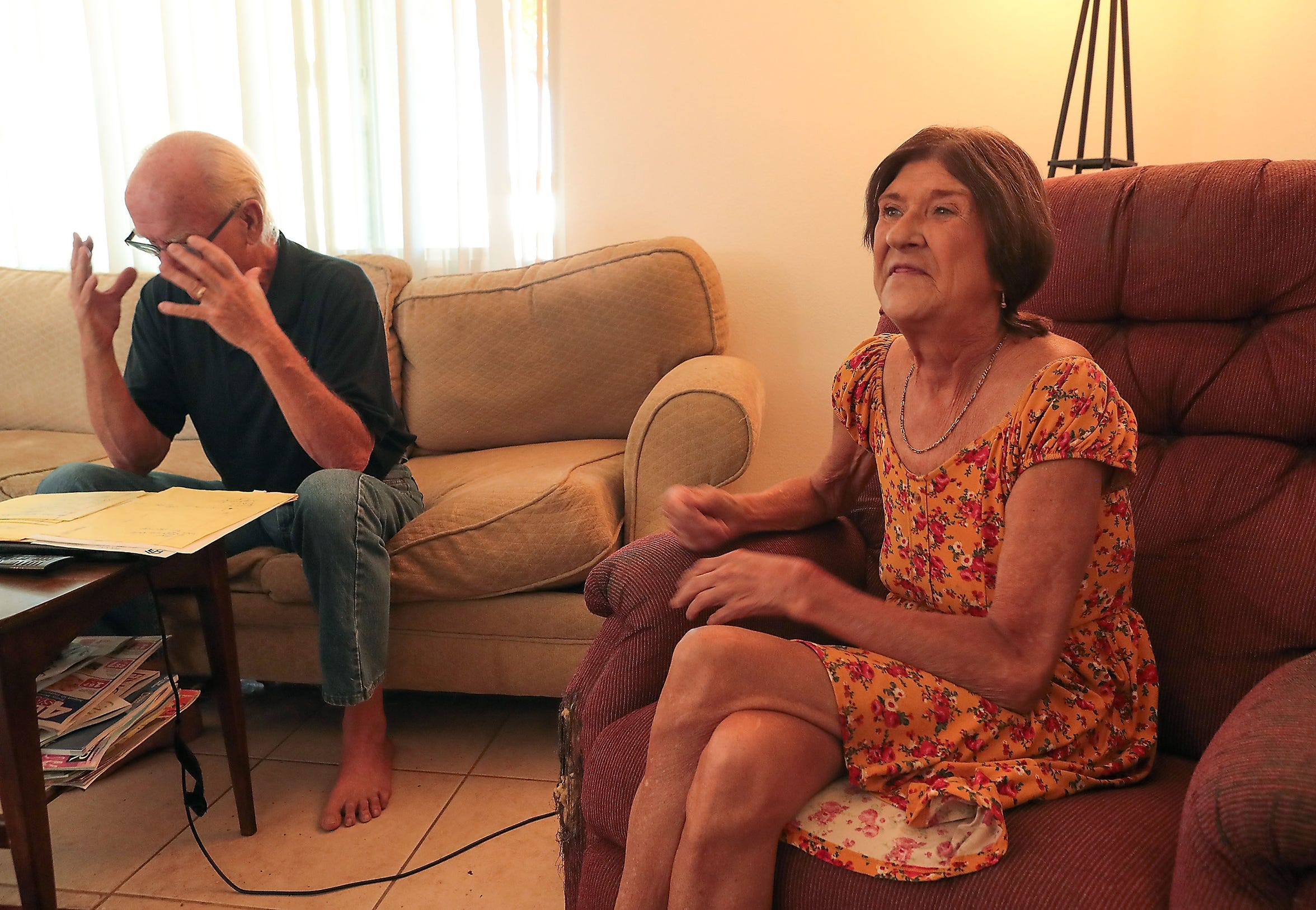 Ron and Nancy Moore recall being homeless in the past in their current home in Joshua Tree, Calif., August 29, 2019.