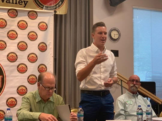 District 1 candidate Michael Shogren speaks at a cannabis forum at the Mizell Senior Center on September 19, 2019 in Palm Springs, Calif.