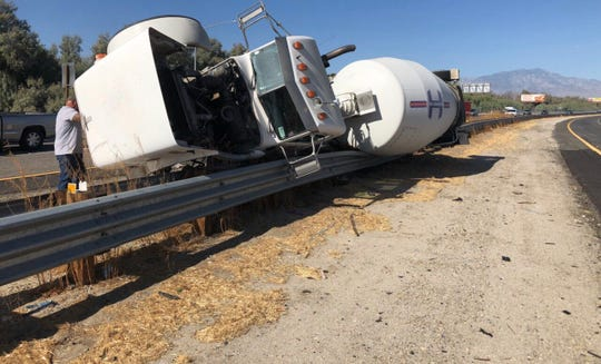 A traffic collision involving a cement truck and big rig has closed one lane of eastbound Interstate 10, near the Jefferson/Indio Boulevard offramp, for an undetermined length of time Friday morning, Sept. 20, 2019.