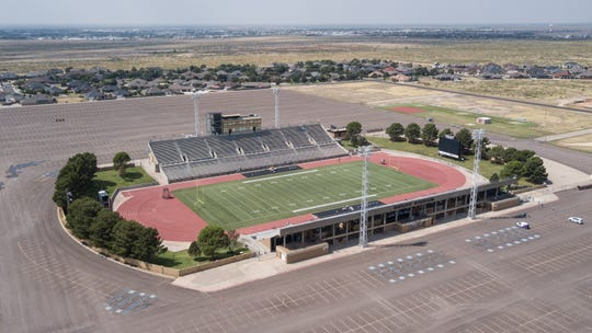 An aerial view of 19,000-seat Ratliff Stadium in Odessa, Texas, on Sept. 20, 2019. Palm Desert High School will play Permian High of 'Friday Night Lights' fame later at night.