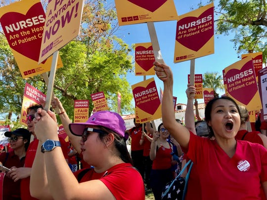 Desert Regional Medical Center nurses  protest outside the hospital demanding better working conditions on Friday, Sept. 20, 2019.