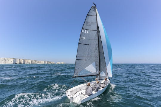 The RS21 under sail. The Premiere Sailing League has chosen the RS21 for its stadium sailing program.