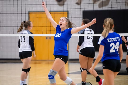 Spring Grove's Skye Wolfe reacts after scoring a point for the Lady Rockets during a YAIAA Division I volleyball match against South Western on Sept. 19.