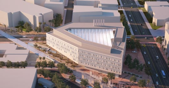 A rendering shows a planned triangle-shaped research building, ISTB 7, at Arizona State University's Tempe campus.