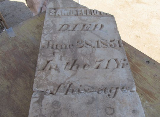Samuel Elliott's headstone is in a storage vault at the Pioneer cemetery in Phoenix but no one knows who he was.
