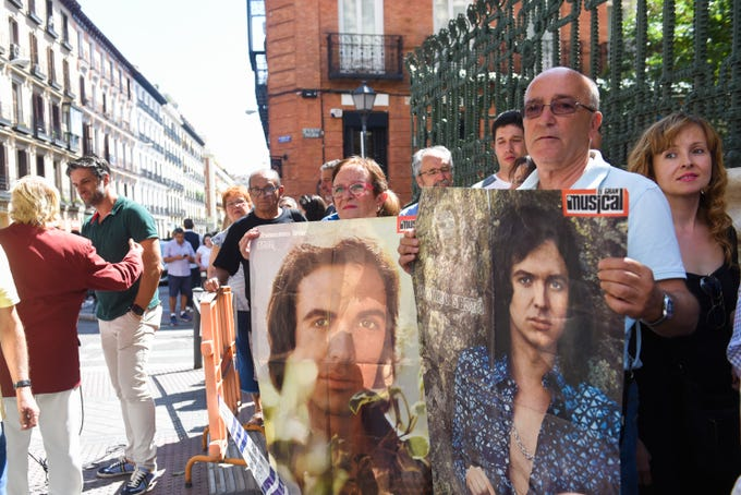 Fans line up to attend the Camilo Sesto funeral service on Sept. 9, 2019, in Madrid.