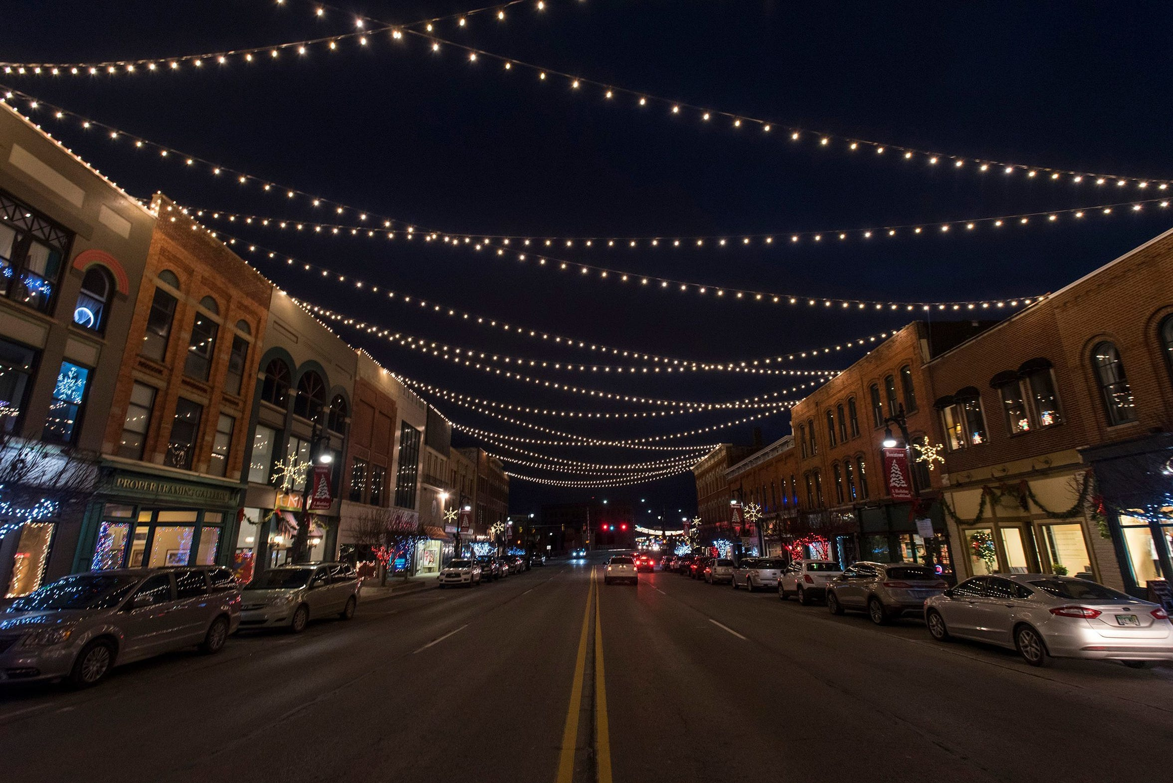 Lights hanging over Huron Avenue in downtown Port Huron give the town a warm glow nearly two years ago.