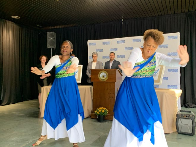 Bethel Missionary Baptist Church Liturgical Dancers perform at a press conference announcing the festival at the Majed J. Nesheiwat Convention Center.