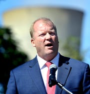 Dauphin County Commissioner Mike Pries speaks during a Three Mile Island closure event Friday, Sept. 20, 2019. TMI began commercial operations in 1974. The event was sponsored by Clean Jobs for Pennsylvania, a coalition formed in support of the state's nuclear power facilities. Bill Kalina photo