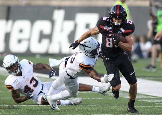 Texas Tech wide receiver Dalton Rigdon gets past UTEP's Justin Rogers and the Miners' defense during the teams' game last week.