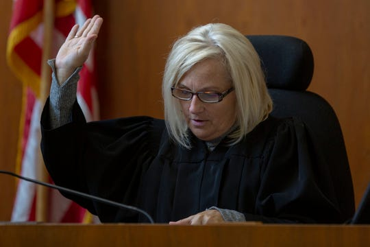 Marion County Judge Audrey Broyles presides over the case of Bradley Monical, who is accused of trying to murder a Marion County Jail deputy during a botched escape attempt. Bradley Monical is representing himself and presented closing arguments September 19, 2019, at the Marion County Circuit Court in Salem, Ore.
