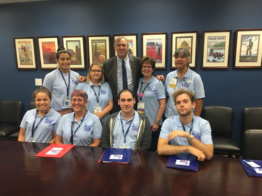 Salem's Teresa Warnock and Kathy Ottele, left and right of U.S. Sen. Jeff Merkley, join American Cancer Society Cancer Action Network volunteers in Washington, D.C. in September 2019 to call on lawmakers to support cancer legislation.