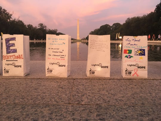 The American Cancer Society Cancer Action Network summit in Washington, D.C. in September 2019 culminates with an evening Lights of Hope ceremony with thousands of bags with lights lining the Lincoln Memorial Reflecting Pool. Each one is lit in honor of a cancer survivor or to memorialize a loved one who lost his or her fight with the disease.