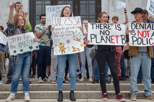 Hundreds of students chant for action on climate change at Salem's Global Climate Strike on September 20, 2019, at the Oregon State Capitol. The local strike accompanied others that occurred internationally.
