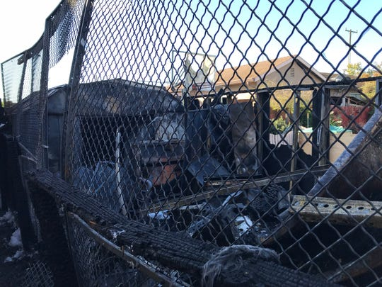 A fire in East Salinas displaced a family of five after the flames moved from a backyard shed to an adjoining garage. Sept. 19, 2019.