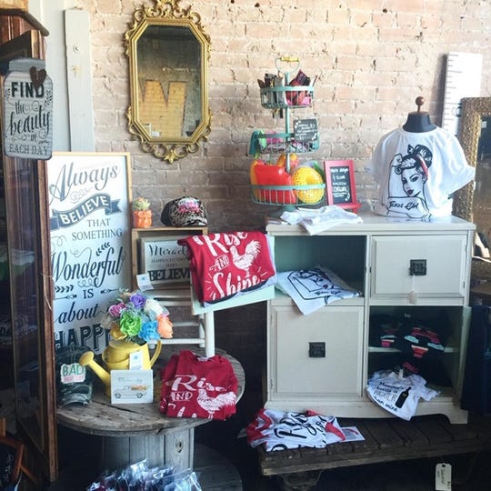 Boutique items from Cracked Ginger displayed at The Mercantile in San Angelo.