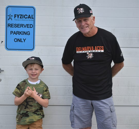 Harrison Heckscher, 5, and Bob Broderick, 72, are the youngest and oldest members of the Delmarva Aces baseball program, respectively.