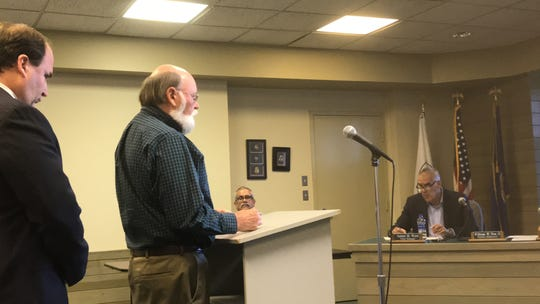 Don Hearl of ESS Services speaks about a proposed sewer line on Chincoteague, VIrginia at a Chincoteague Town Council work session on Thursday, Sept. 19, 2019 in Chincoteague, VIrginia.