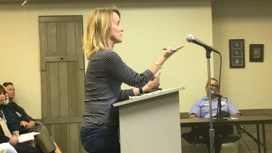 Mieke ter Poorten speaks during a meeting about a proposed sewer line to serve Inlet View campground on Thursday, Sept. 19, 2019 in Chincoteague, VIrginia.