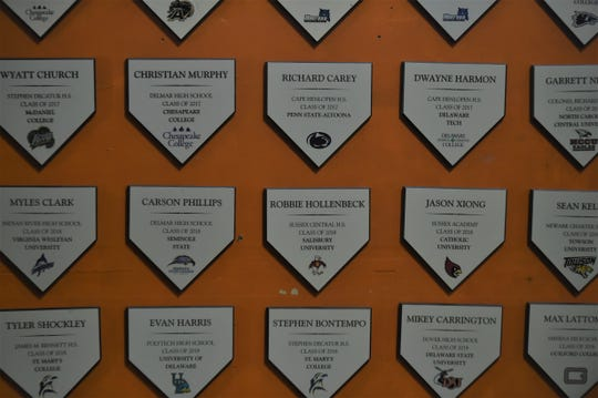 The Delmarva Aces have a wall that recognizes athletes who played at college programs.