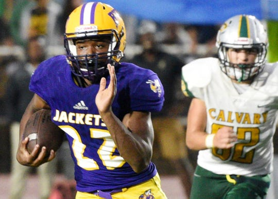 Byrd's Jeremy Williams during their game against Calvary Thursday evening, September 19, 2019, at Lee Hedges Stadium.