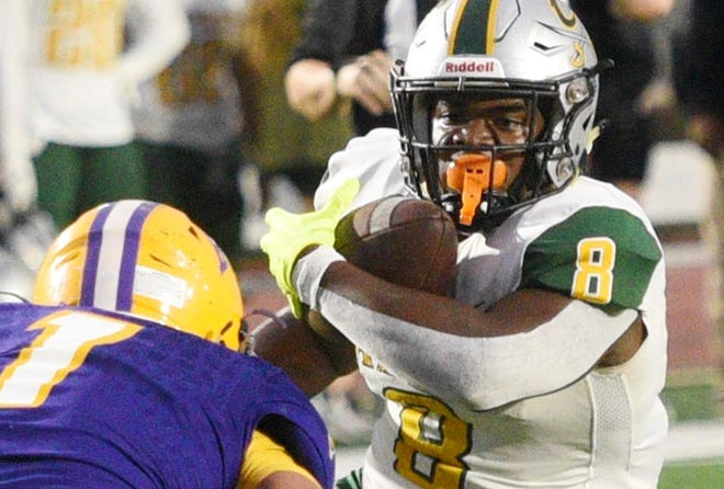 Calvary's Isaiah Brown during their game against Byrd Thursday evening, September 19, 2019, at Lee Hedges Stadium.