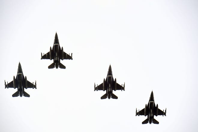 Four F-16 Fighting Falcons will fly over nine cities in eastern South Dakota this weekend to honor healthcare workers, first responders and other essential personnel fighting the coronavirus pandemic.