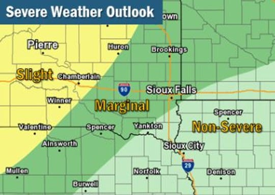 Most of central South Dakota has a slight risk for severe weather on Friday, Sept. 20, 2019.
