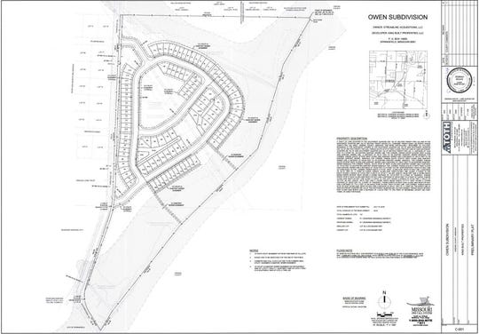 This drawing shows the preliminary plat submitted by a developer looking to build south of Springfield.
