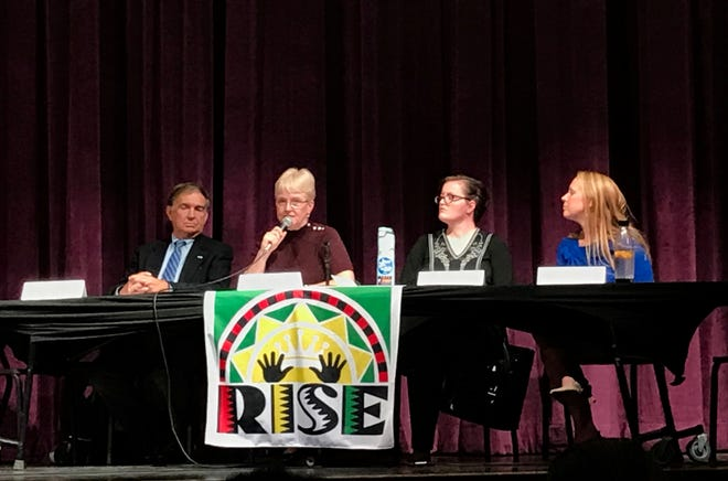 Annette Hyde (second from left) answers a question at the RISE debate as other General Assembly candidates (from left) Sen. Emmett Hanger,  Jennifer Kitchen and Jennifer Lewis look on.