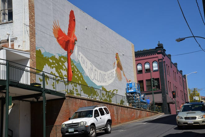 Staunton's new mural is being painted by artist Christy Baker. This photo shows the progress as of Sept. 20.