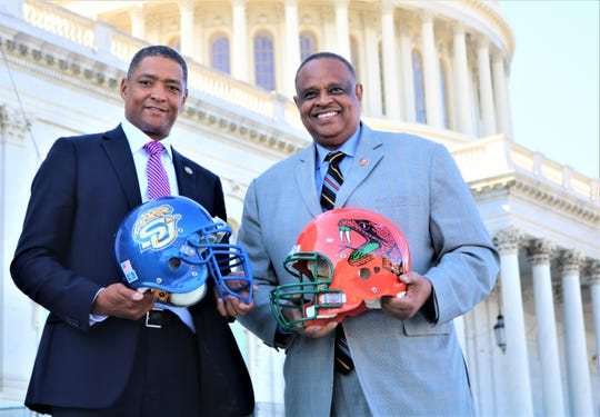 Congressmen Cedric Richmond (left) and Al Lawson have a bet on the FAMU-Southern game. Lawson has wagered Apalachicola oysters and Gadsden County tomatoes. Richmond has put Louisiana's famous crawfish and beignets on the table.