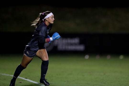 Florida State University Seminoles goalie Caroline Jeffers (0) runs out to grab the ball during a game between FSU and Boston College at the Seminole Soccer Complex Thursday, Sept. 19, 2019.