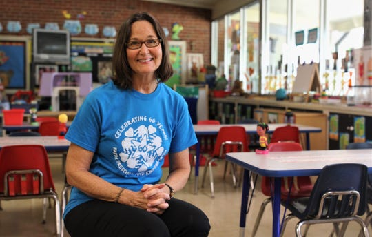 Lark Mott-Smith, a 4-year-olds teacher for 39 years at Faith Preschool poses for a portrait. The school on the corner of John Knox Road and Meridian Road, celebrated its 60th anniversary over the weekend of Sept. 20-22, 2019.