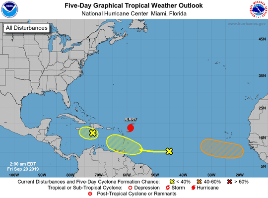 A wave off the coast of Africa is being monitored, Sept. 20, 2019,
