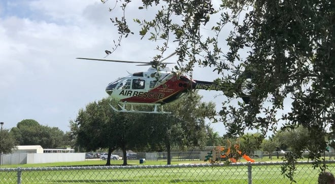 The 9-year-old was transported by rescue and flown to St. Mary's Medical Center, according to Port St. Lucie police.